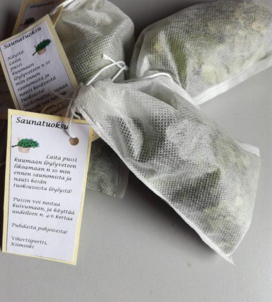 Saunapuoksupussi | Vihertiipertti. Sainatuoksupussin koivunlehdet on kerätty pohjoisen puhtaasta luonnosta. Tilaa Forest Foodysta!