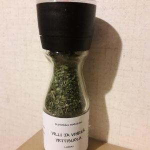 Villi ja Vihreä yrttisuola | Alaspään maatila. Vahvan yrttisen makuinen suola kätevässä uudelleen täytettävässä myllyssä. Tilaa Forest Foodysta!